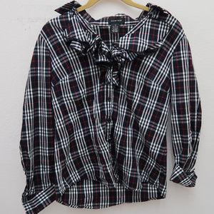 Spense Black Ruffle Neck Button Down Plaid Shirt
